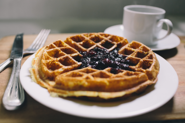 Buttermilk Waffles With Blueberry Mint Compote 187 16th Market